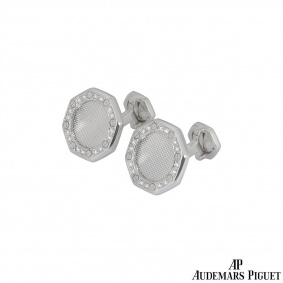 Audemars Piguet White Gold Diamond Royal Oak Cufflinks